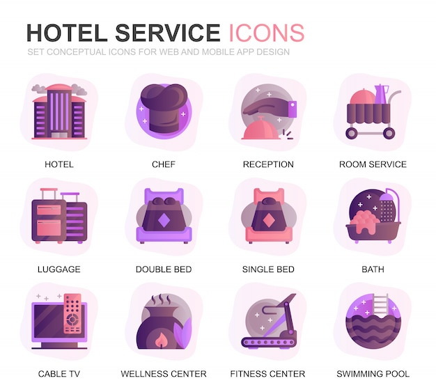 Modernes set hotel services farbverlauf flache symbole