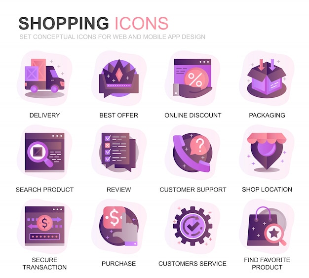 Modernes set shopping und e-commerce-farbverlauf flache symbole