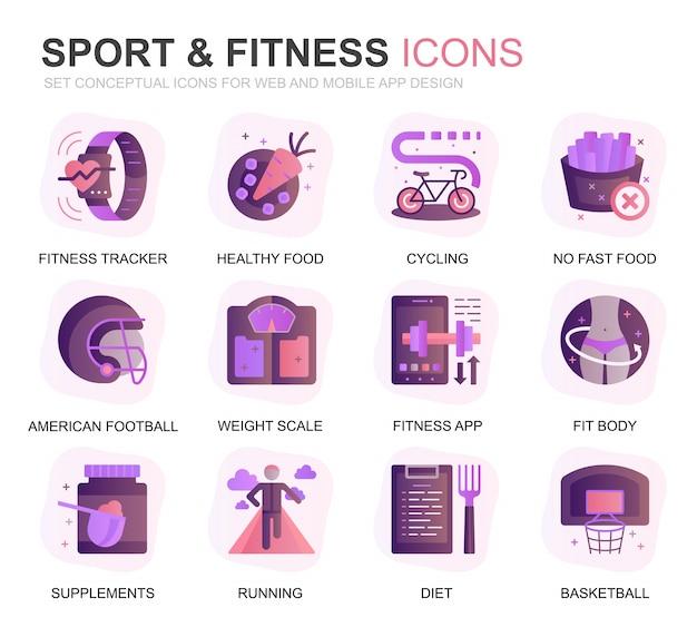 Modernes set sport und fitness farbverlauf flache symbole