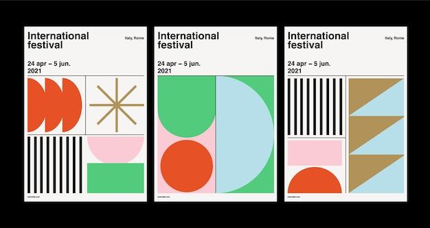 Modernes set von postervorlagen mit geometrischem design