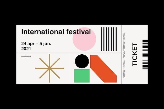 Modernes set von ticketvorlagen mit geometrischem design