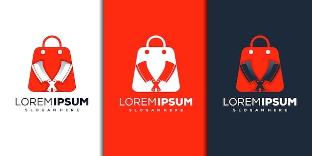 Modernes shop- und messerlogo-design