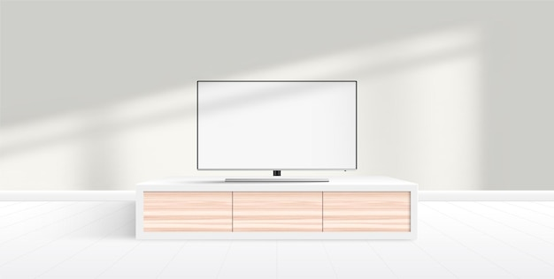 Modernes smart-tv-modell mit leerem weißen bildschirm auf möbeln, modernes minimalistisches wohnzimmer.