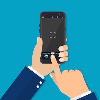 Modernes smartphone mit kameraanwendung.style