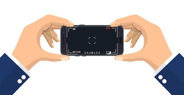 Modernes smartphone mit kameraanwendung.