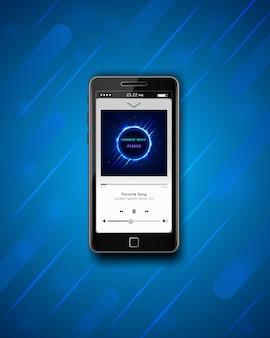 Modernes smartphone mit musikalischem mp3-player