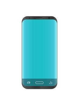 Modernes smartphonemodell lokalisiert auf weiß