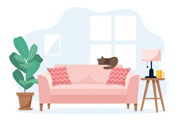 Modernes sofa mit beistelltisch und pflanze, niedliches interieur