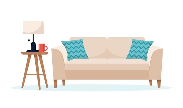 Modernes sofa mit einer beistelltischillustration