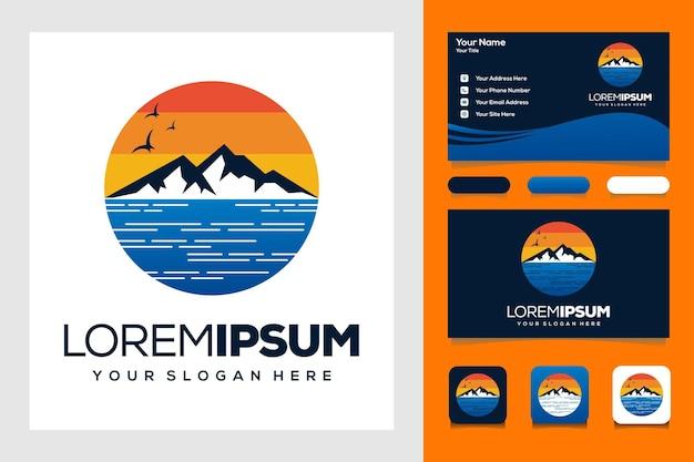 Modernes sonnenuntergang meer und berge logo vorlage logo design und visitenkarte