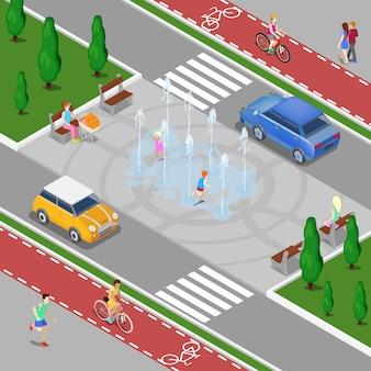 Modernes stadt-isometrisches konzept. stadtbrunnen mit kindern. fahrradweg mit reitern. vektor-illustration