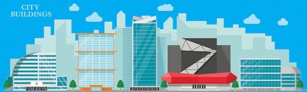 Modernes stadtbild-banner mit krankenhausbürohotel und wohngebäuden im flachen stil