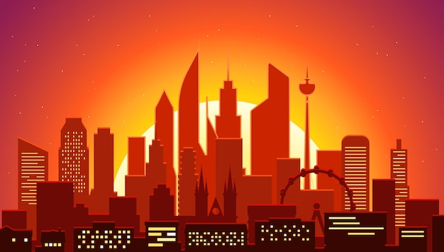 Modernes stadtbild in der abendillustration. großstadtszene