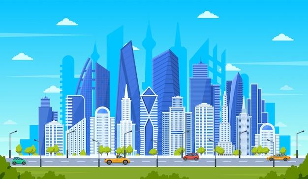 Modernes stadtkonzept. bürogebäude mit straßenstraßenverkehr, stadtbild der innenstadt, panoramablickillustration der stadtstraße. stadtbildstraße, panorama-baukastenstadt