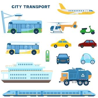 Modernes stadtverkehrsset. elektrobus, auto, zug, müllwagen, ebene, hubschrauber, roller, taxi, autos vorne, boot, ladestation. flache illustration.