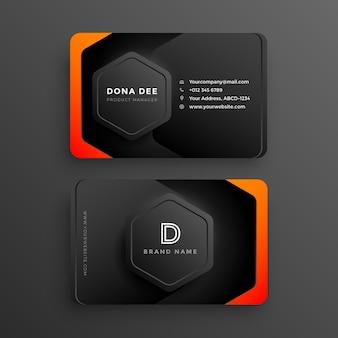 Modernes, stilvolles dunkles visitenkartendesign mit kostenlosem orangefarbenem farbverlauf