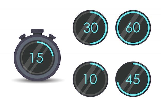 Modernes stoppuhr-set. timer, uhr, stoppuhr isolierte set-symbole. garzeit beschriften.