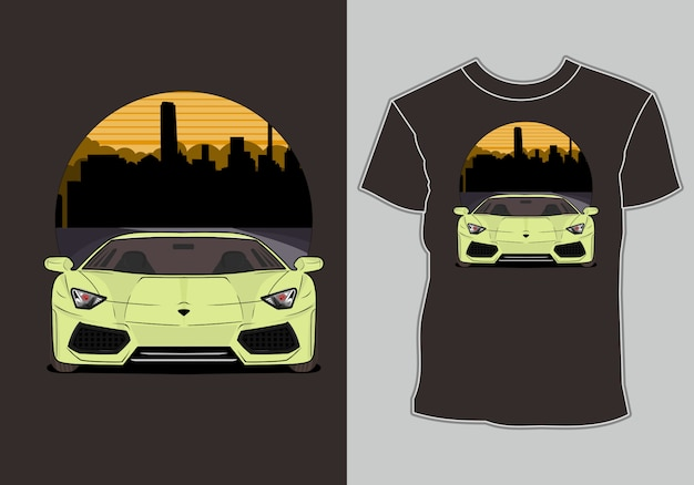 Modernes t-shirt-design zum thema sportwagen für sportwagenliebhaber