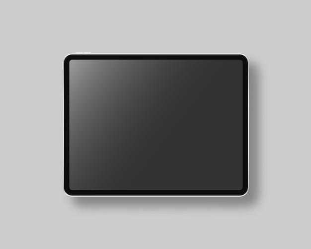 Modernes tablet mit leerem bildschirm. szene. schwarze tafel auf grauem hintergrund. realistische illustration.