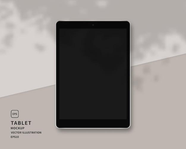 Modernes tablet mit schattenauflage. szene.