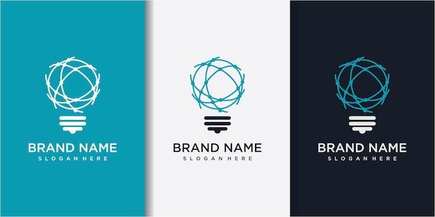 Modernes tech bulb-logo entwirft konzept mit visitenkarte