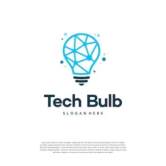 Modernes tech bulb logo entwirft konzept, pixel technology bulb idea logo vorlage