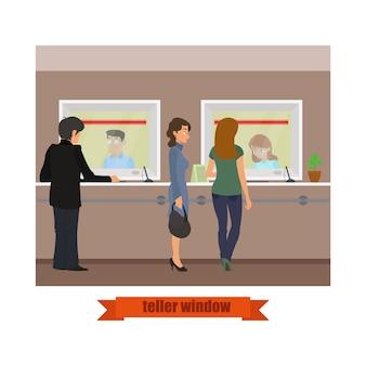 Modernes technologie-kassiererfenster. bankangestellte, die mit kunden arbeiten.