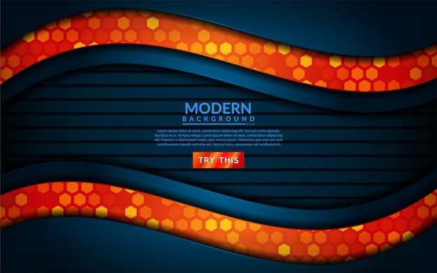 Modernes technologieblau kombinieren mit orange hintergrund