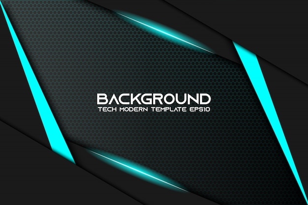 Modernes technologiedesign des abstrakten metallischen hintergrundplans des blauen schwarzen