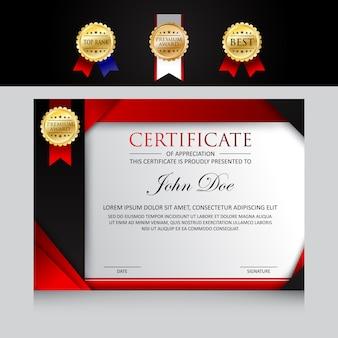 Modernes template-zertifikatdesign mit ausweisoptionen