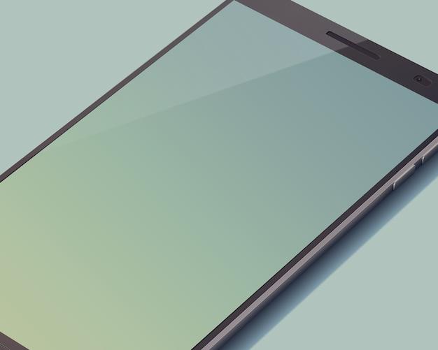 Modernes touchscreen-smartphone-konzept auf grau mit großem leerem bildschirm nicht voll auf dem bild