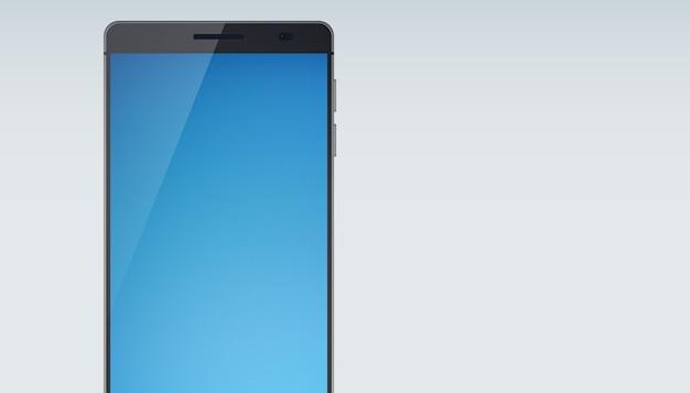 Modernes touchscreen-smartphone-konzept mit wunderschönem himmelfarbenem touchscreen mit schatten auf hellblau und schneidender unterseite