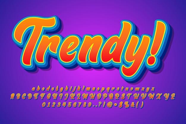 Modernes trendiges alphabet, satz moderne pinselschrift Premium Vektoren