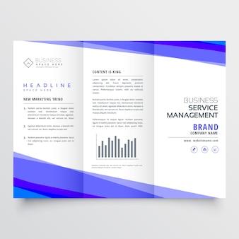 Modernes trifold-broschüre-design mit geschäftsdetails