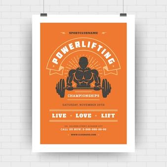 Modernes typografisches layout des fitnesscenter-flyers