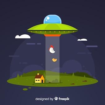 Modernes ufo-abduktionskonzept mit flachem design