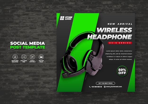 Modernes und elegantes schwarzes grünes drahtloses kopfhörer-markenprodukt für sozialmedien-vorlagenbanner