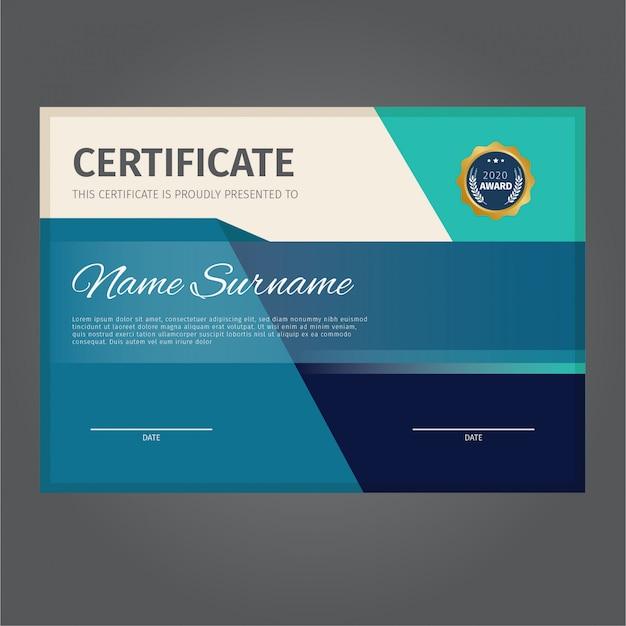 Modernes und elegantes zertifikatdesign