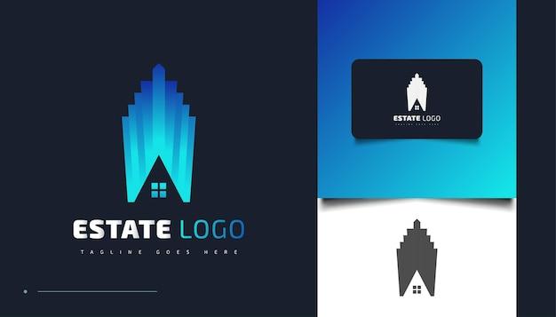 Modernes und futuristisches immobilien-logo-design in blauem farbverlauf. bau-, architektur- oder gebäudelogo-designvorlage
