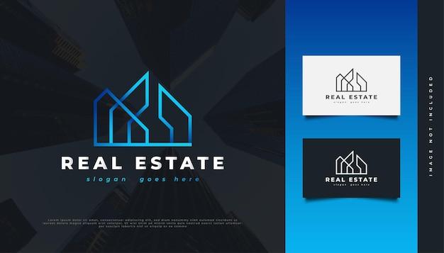 Modernes und futuristisches immobilien-logo-design in blauem farbverlauf mit linienstil. bau-, architektur- oder gebäudelogo-design