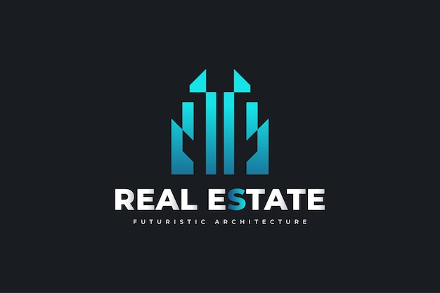 Modernes und futuristisches immobilien-logo-design