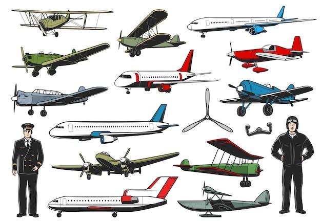 Modernes und vintage-flugzeug-set. pilotcharakter der zivil- und militärluftfahrt. passagierflugzeuge der fluggesellschaft, retro-doppeldecker der armee oder bomber und flotaplane mit schlanken, fliegern in einheitlichem vektor
