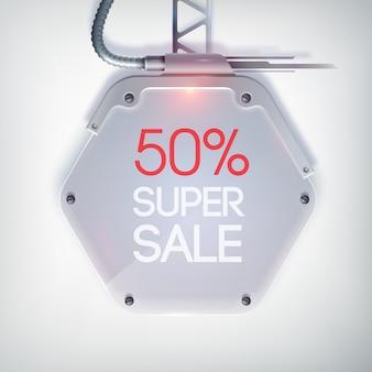 Modernes verkaufsbanner mit superverkauf der roten wörter auf der sechseckigen metallplatte