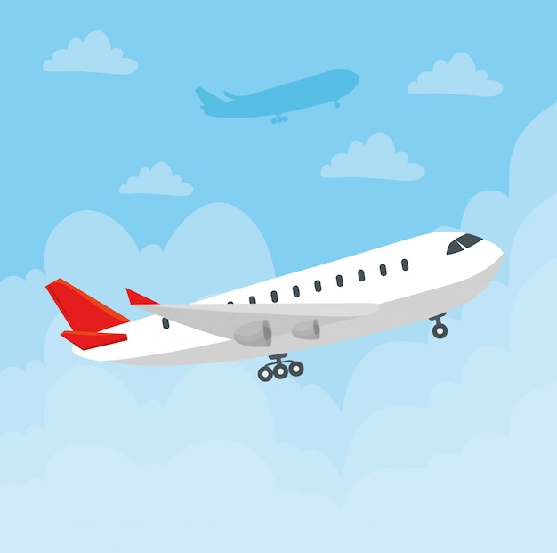 Modernes verkehrsflugzeug des flugzeugs, großes kommerzielles passagierflugzeug im himmelvektorillustrationsdesign
