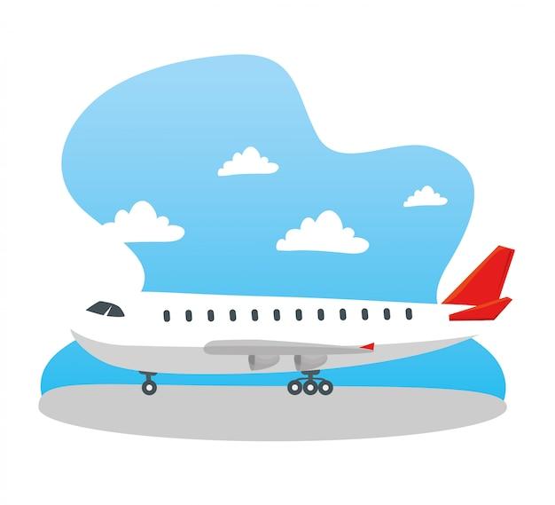 Modernes verkehrsflugzeug, großes kommerzielles passagierflugzeugvektorillustrationsdesign