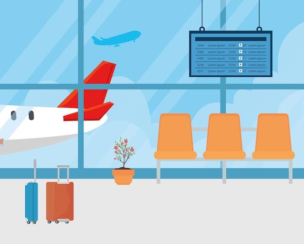 Modernes verkehrsflugzeug im terminal, abflughalle am flughafen