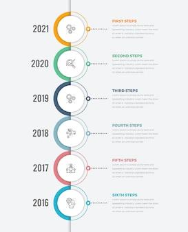Modernes vertikales timeline-infografik-kreisdiagramm mit sechs schritten-symbol