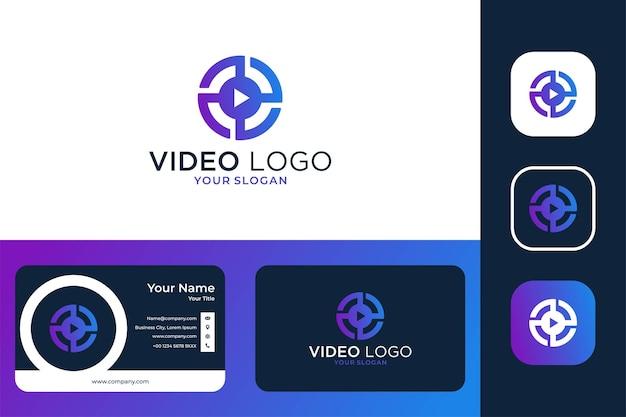 Modernes video-kreis-logo-design und visitenkarte