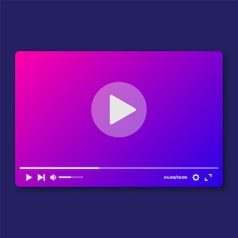 Modernes video player interface template für we und moile apps