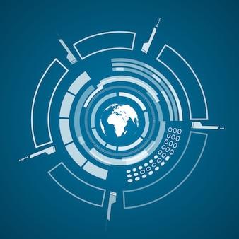 Modernes virtuelles technologieplakat mit bild der weißen weltkarte und verschiedenen technologischen elementen, formen auf dem dunklen blau